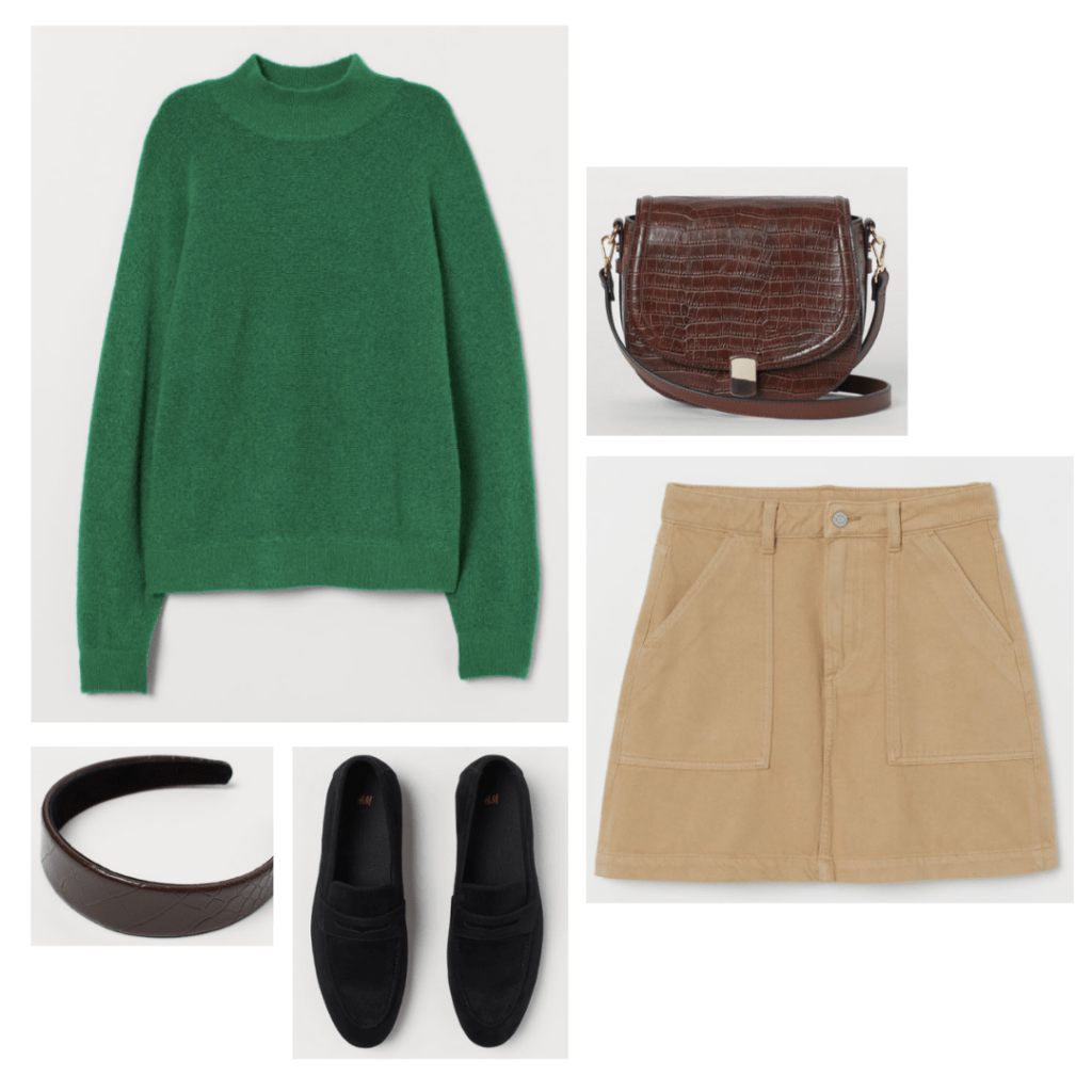 Outfit inspired by The Breakfast Club - green turtleneck sweater, beige skirt, black flats, croc texture bag
