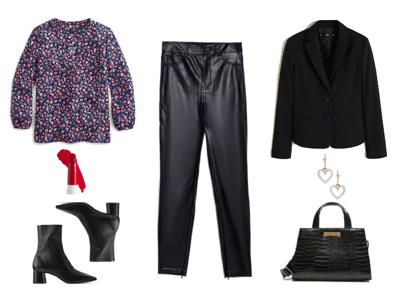 Three Darkly Dramatic Dark Floral Looks for Cold Weather Outfit #1