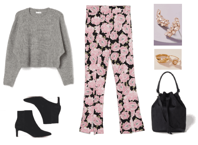 Three Darkly Dramatic Dark Floral Looks for Cold Weather Outfit #2