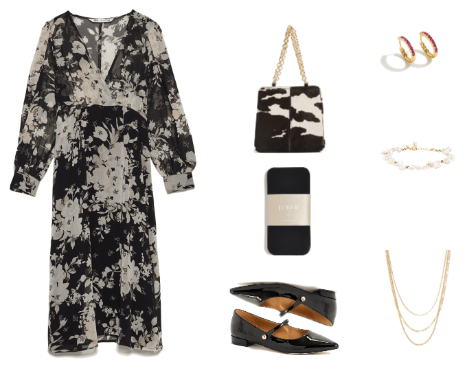 Three Darkly Dramatic Dark Floral Looks for Cold Weather Outfit #3