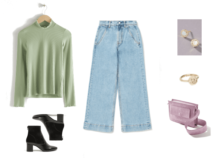 How to wear the pistachio color trend: Outfit with green turtleneck, wide leg jeans, purple bag