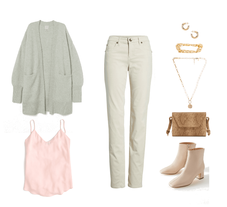 How to wear the pistachio color trend - outfit with green sweater, cream jeans, pink tank, beige ankle boots