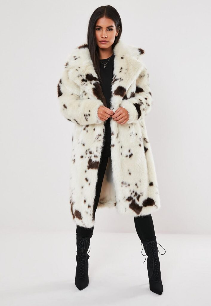Faux fur coat from Missguided in cow print