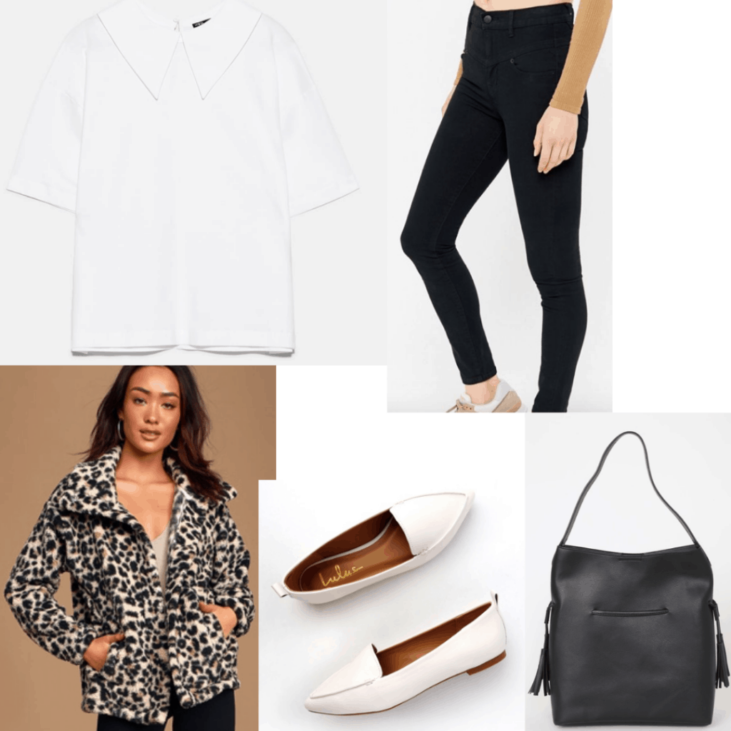 Outfit set with collared white t-shirt, black jeans, cheetah coat, white flats and a black bag.