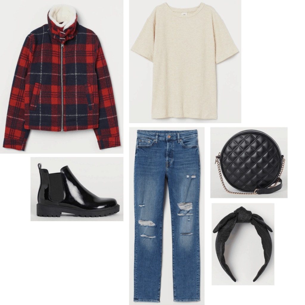Outfit inspired by Bender from The Breakfast Club with ripped jeans, off white shirt, black accessories, plaid jacket