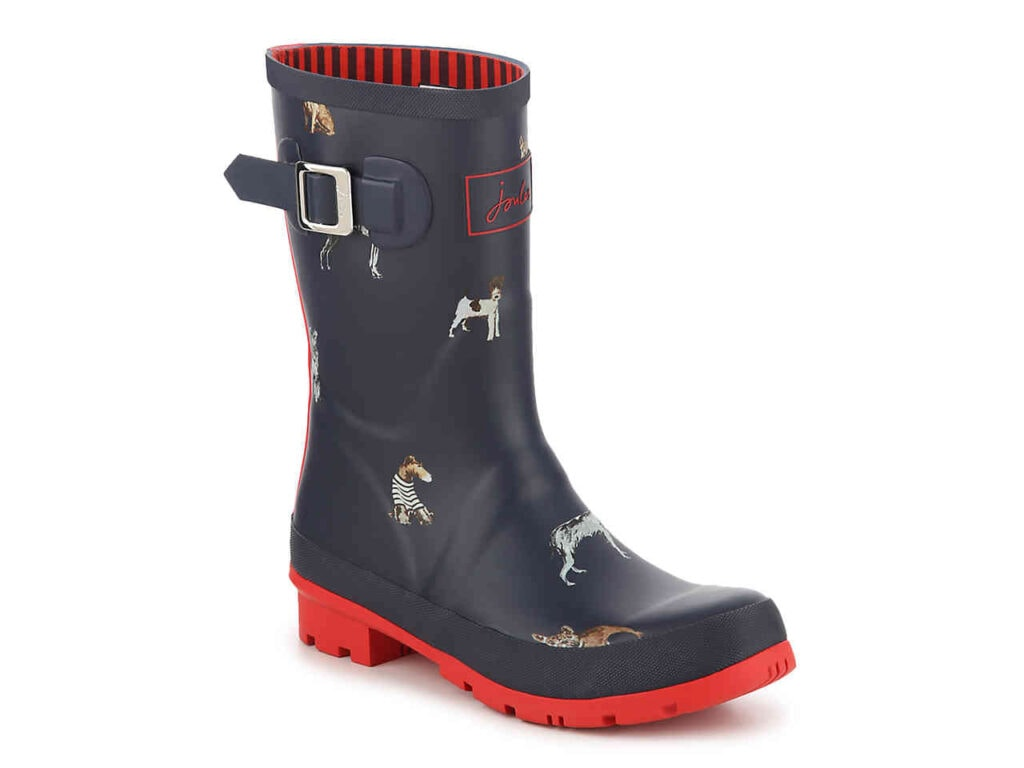 Seven Cute Pairs of Rain Boots to Jazz Up Your Rainy Day Look: Joules Molly Welly Rain Boot in navy blue with dog print with bright red sole