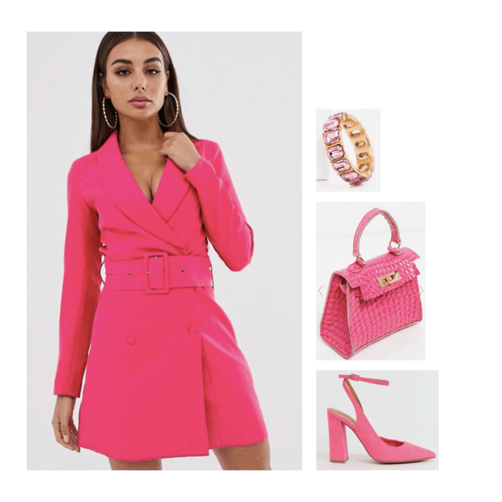 Elle Woods costume with pink dress, pink purse, and pink heels - cute Halloween costumes from movies