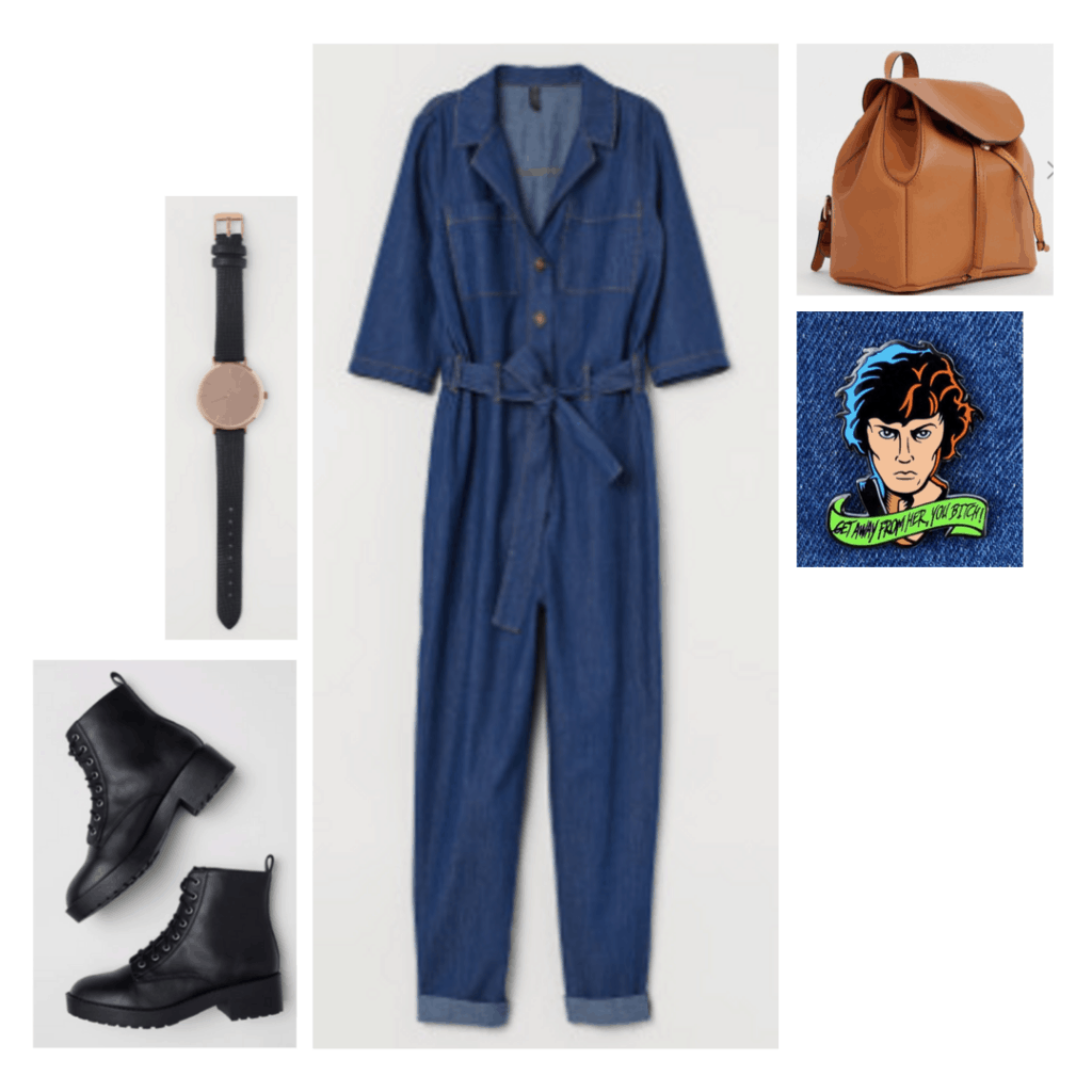Outfit inspired by Ellen Ripley from Alien with black boots, brown backpack, denim jumpsuit