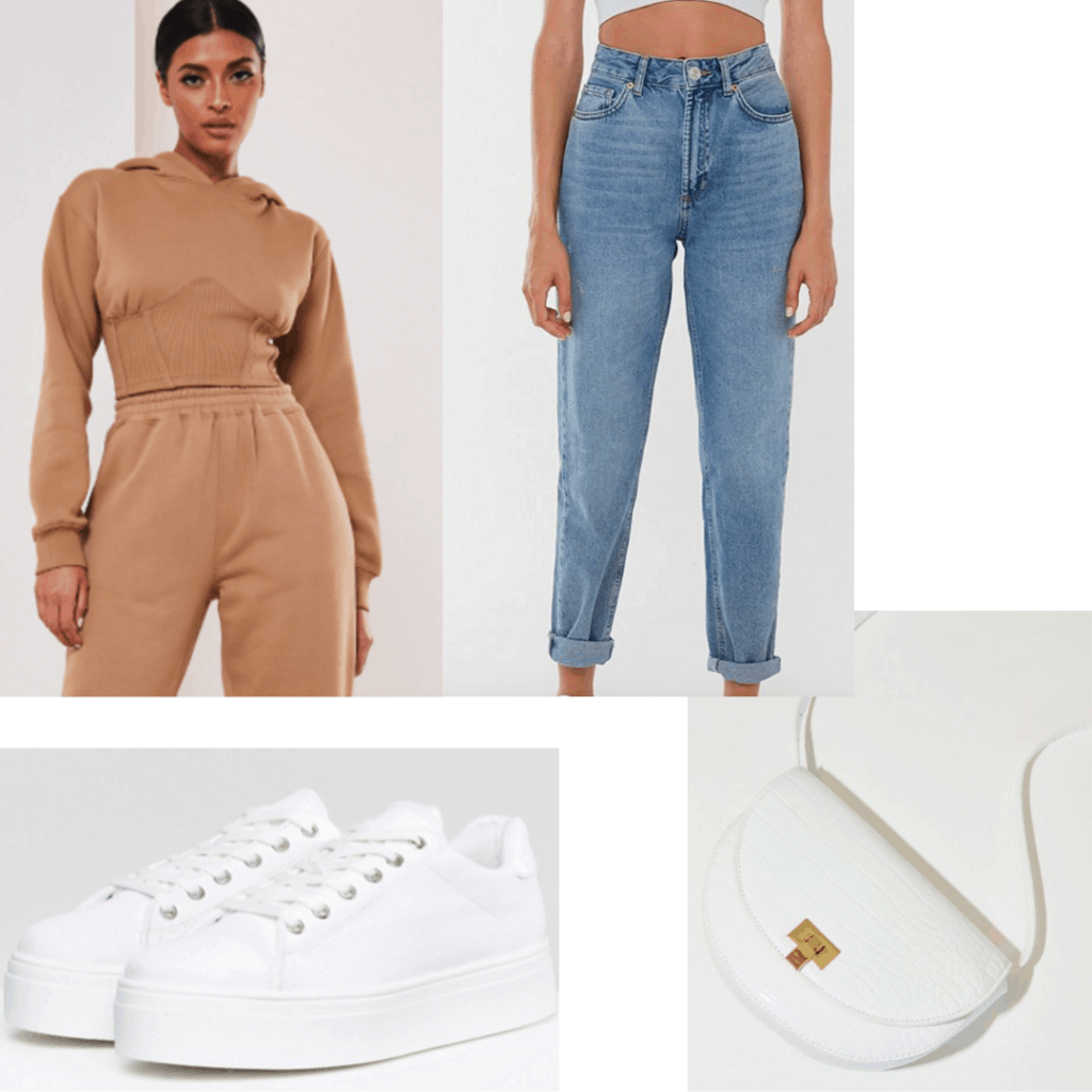 Outfit set with cropped hoodie, jeans, sneakers and white bag.