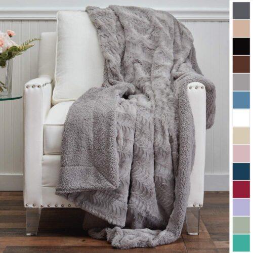 Silver faux fur blanket - fall dorm decor ideas