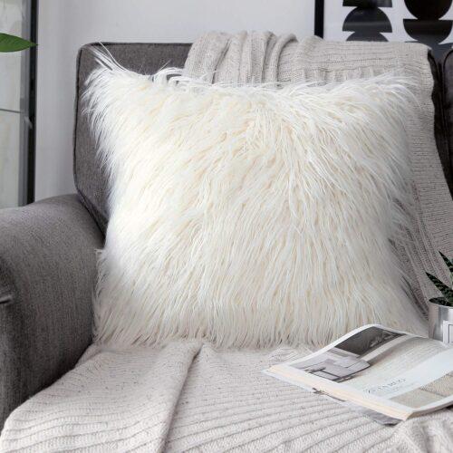 Cozy fall dorm decor: Faux fur pillow