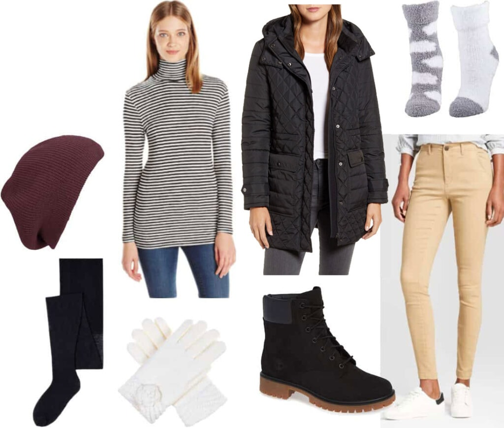 Freezing cold weather outfit: Turtleneck, quilted puffer coat, skinny khaki pants, fur lined booties, fleece lined tights, gloves, knit hat, chenile socks