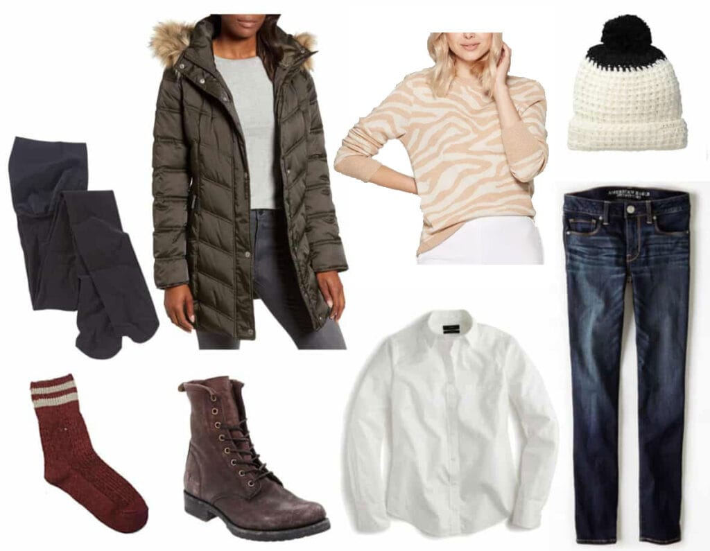 Freezing cold weather outfit: Green parka, graphic sweater, pom pom hat, skinny jeans, white button-down shirt, combat boots, thick socks, fleece lined tights