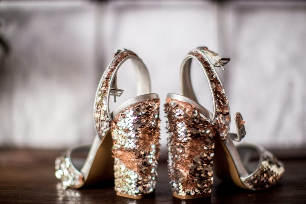 Pair of glitter heels