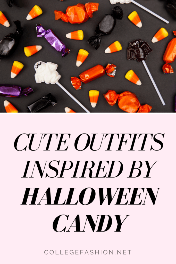 Cute outfits inspired by Halloween candy - candy corn, kit kat, m&ms, and jolly rancher