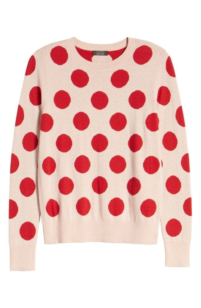 Six Fun Printed Sweaters Guaranteed to Liven Up Your Cold-Weather Wardrobe: Halogen x Atlantic Pacific Red-and-Pale-Pink Polka-Dot Sweater
