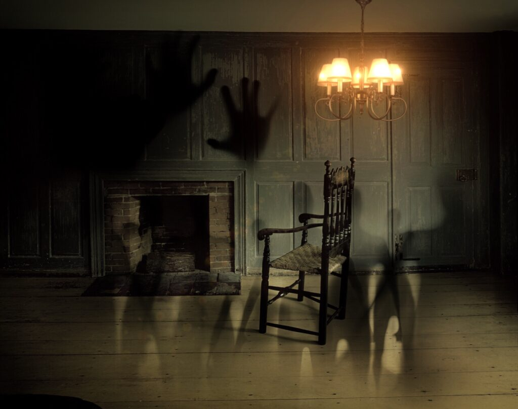 shadows in a dark room with a chandelier and chair
