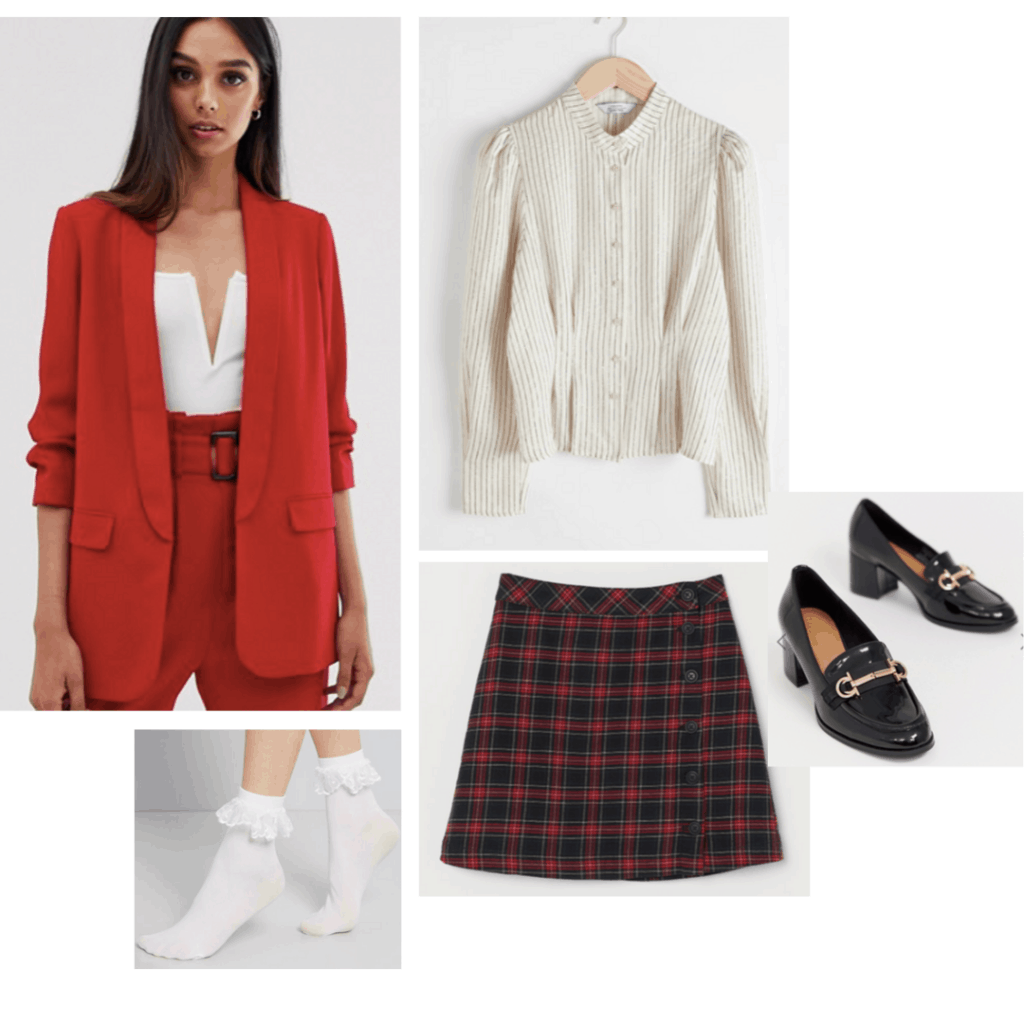 Heathers costume with red blazer, plaid skirt, high heel loafers, blouse, and ruffle socks