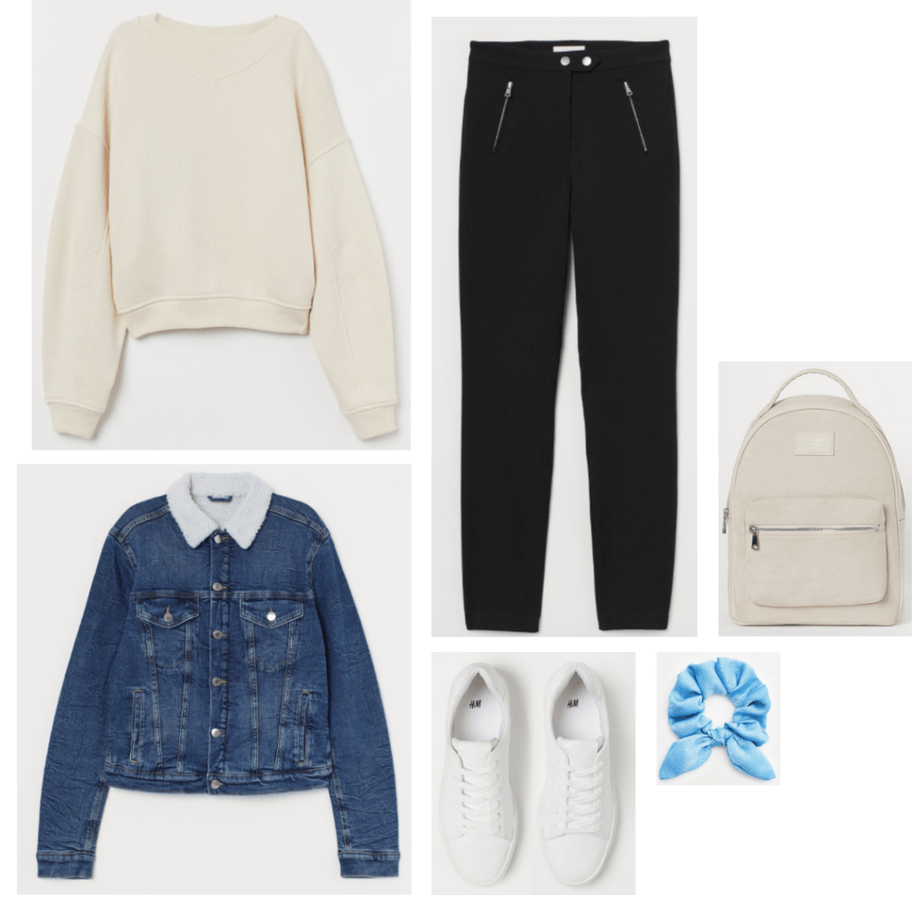 Breakfast Club fashion - outfit inspired by Andrew with beige sweatshirt, zipper jeans, white sneakers, denim jacket, backpack