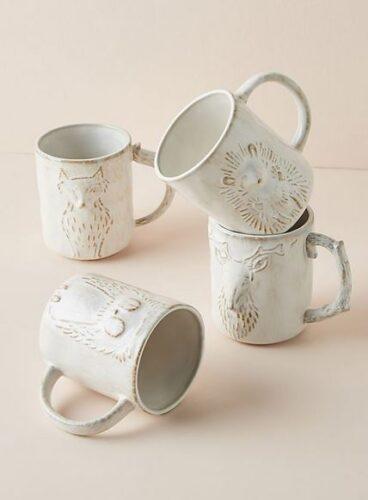 Seasonal animal mugs.