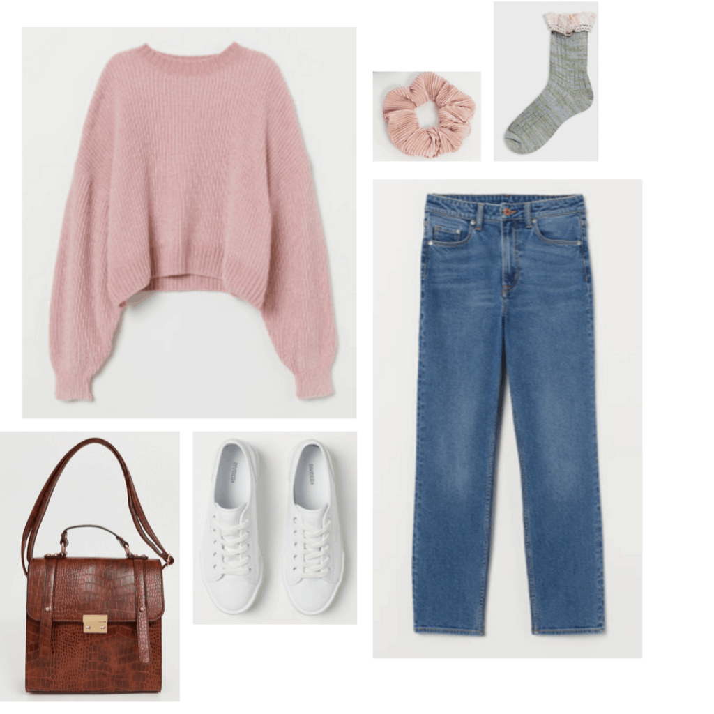 Outfit inspired by Nancy from Nightmare on Elm Street with pink sweater, blue mid rise jeans, white sneakers, scrunchie
