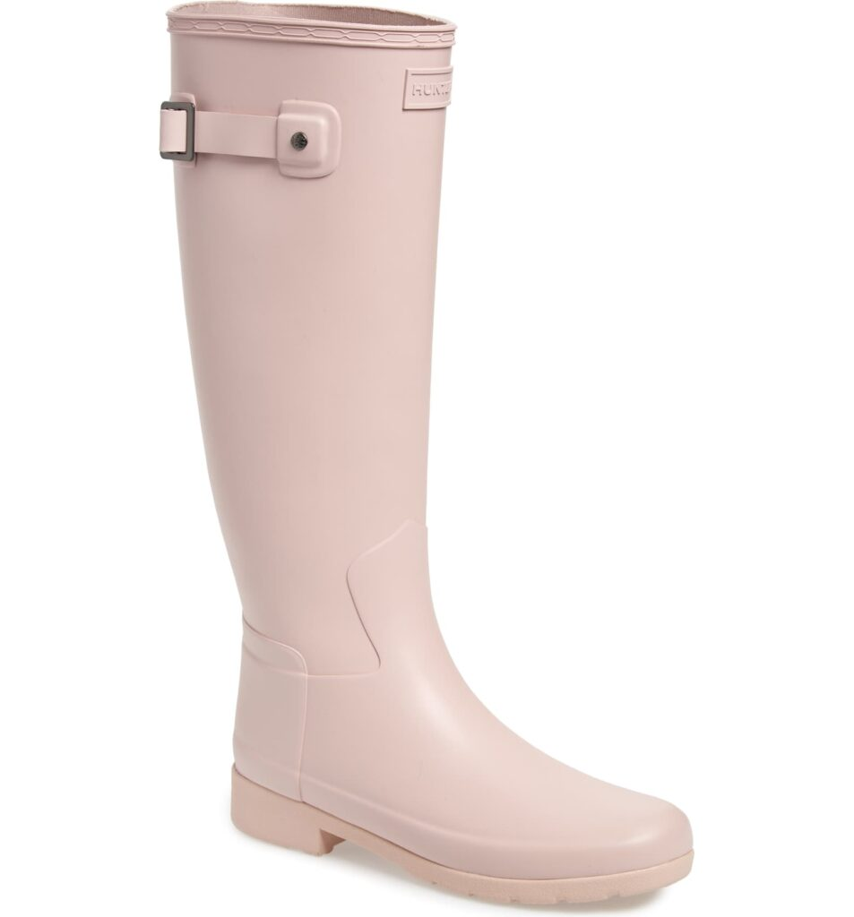 Seven Cute Pairs of Rain Boots to Jazz Up Your Rainy Day Look: Hunter Original Refined Waterproof Rain Boot in pale pink color