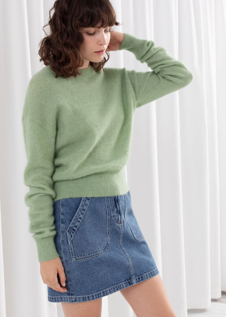 Three Trendy Ways to Wear the Pistachio color trend - pistachio green sweater