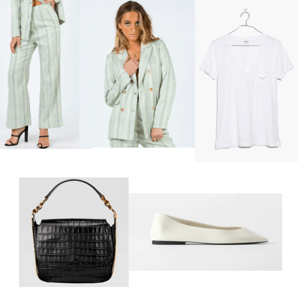 Outfit set with a pantsuit, t-shirt, black bag and white flats.