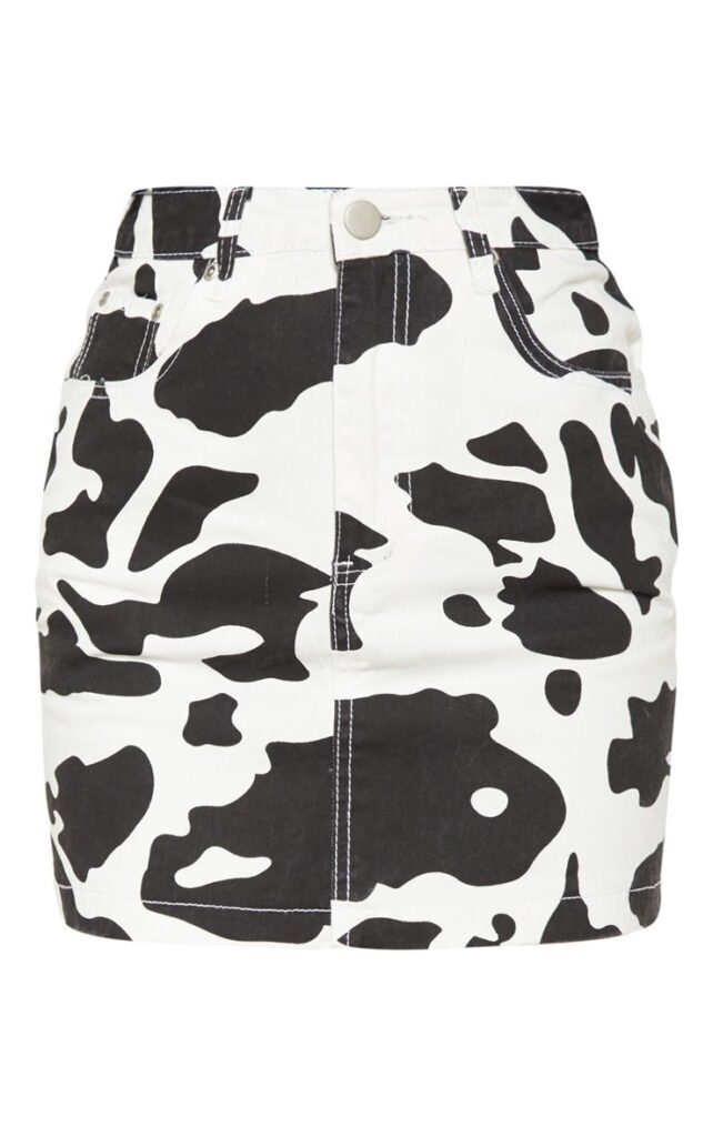 Cow print denim skirt from Pretty Little Thing