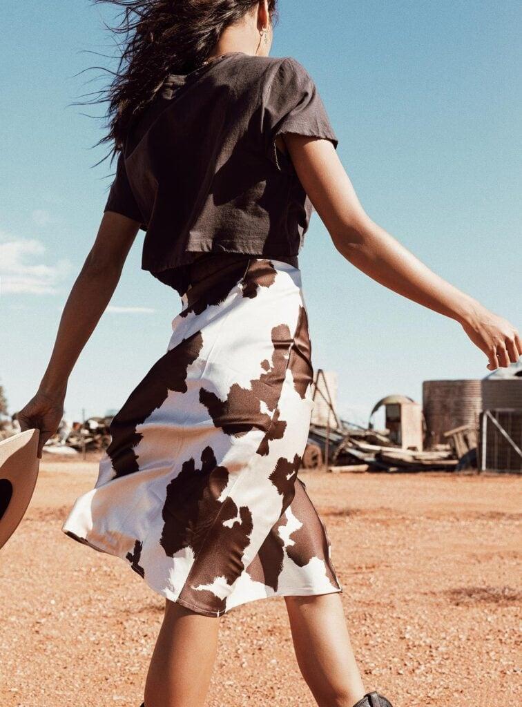 Cow Print midi skirt from Princess Polly