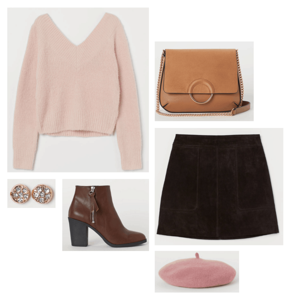 Outfit inspired by Claire from The Breakfast Club - pink sweater, burgundy skirt, burgundy boots, pink  beret