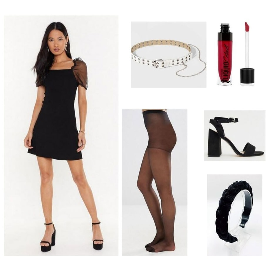 Outfit inspired by Magenta from the Rocky Horror Picture Show: Black dress, white belt, black tights, heels, headband, and red lipstick.