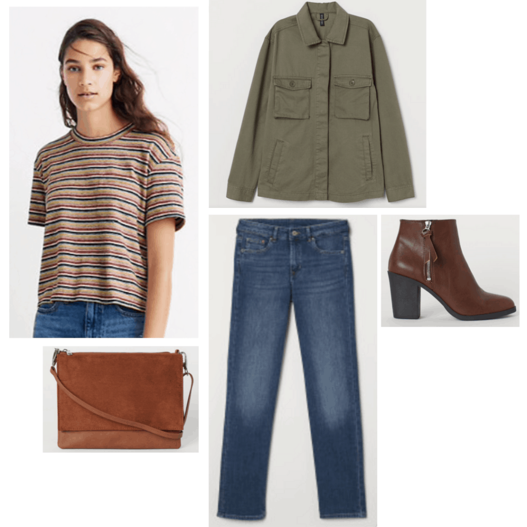 Outfit inspired by Sidney Prescott from Scream with striped tee, utility jacket, dark wash jeans, boots