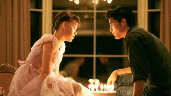 Sixteen Candles fashion - shot of Samantha and Jake Ryan with birthday cake