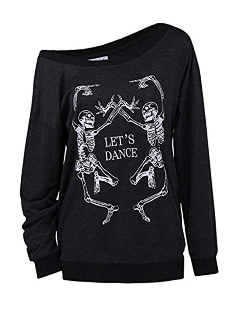 Black off the shoulder sweatshirt of two skeletons dancing