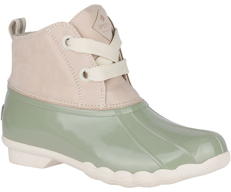 Seven Cute Pairs of Rain Boots to Jazz Up Your Rainy Day Look: Sperry Saltwater 2-Eye Nubuck Duck Boot in off-white sage green with lace-up opening