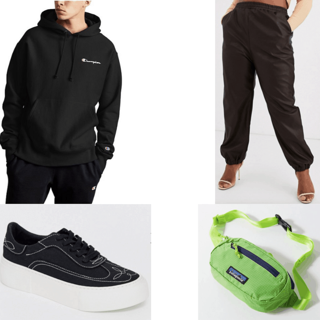Outfit set with black hoodies, black pants, and sneakers and a fanny pack.
