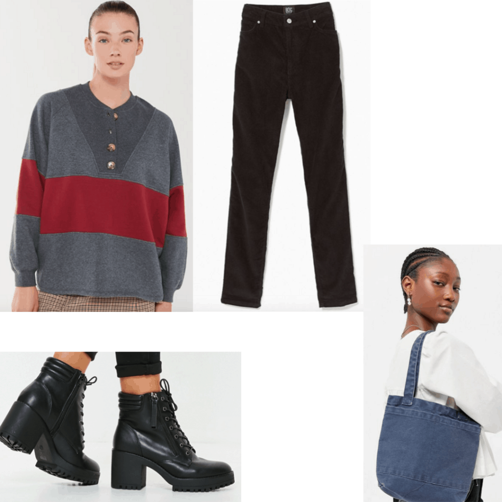 Outfit set striped pullover, corduroy pants, boots and jean bag.