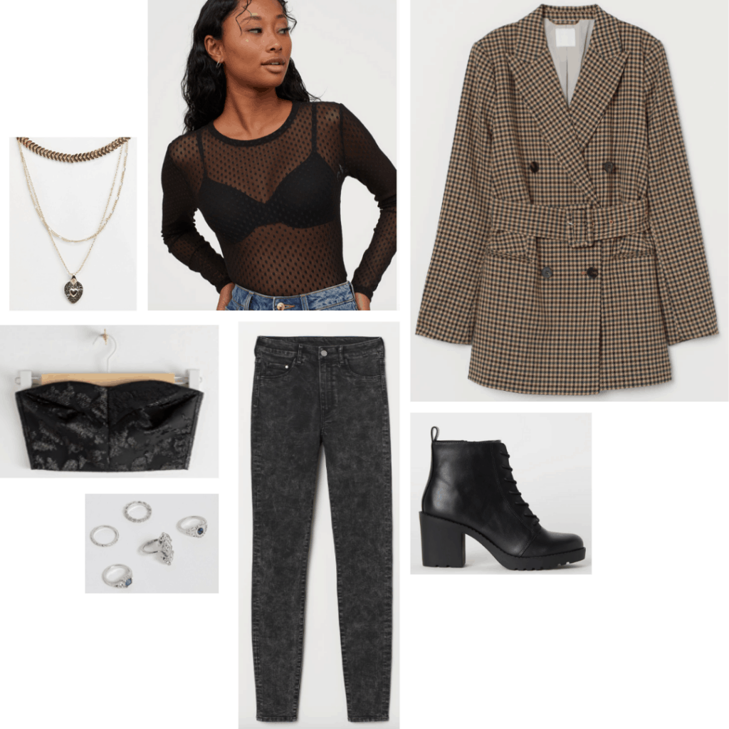 Desperately Seeking Susan fashion: Outfit inspired by Susan's style with plaid blazer, sheer bodysuit, printed jeans, bustier, boots