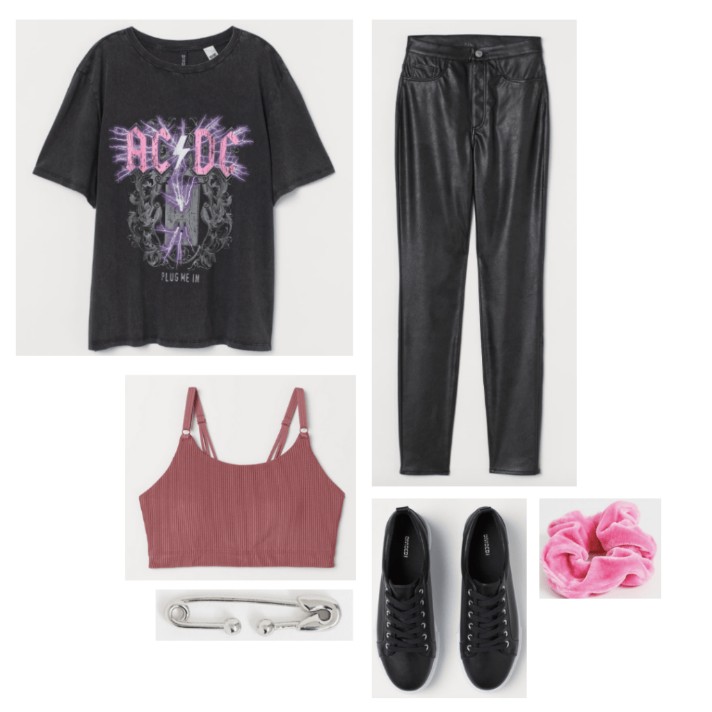 Outfit inspired by the style in Desperately Seeking Susan with graphic tee, faux leather leggings, pink scrunchie, rust bralette, black sneakers