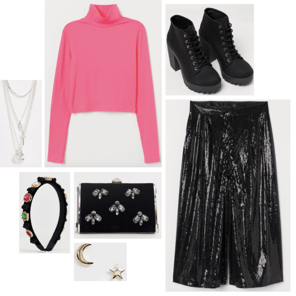 Desperately Seeking Susan fashion: 80s party outfit with sequin trousers, jeweled clutch, embellished headband, chunky heel boots