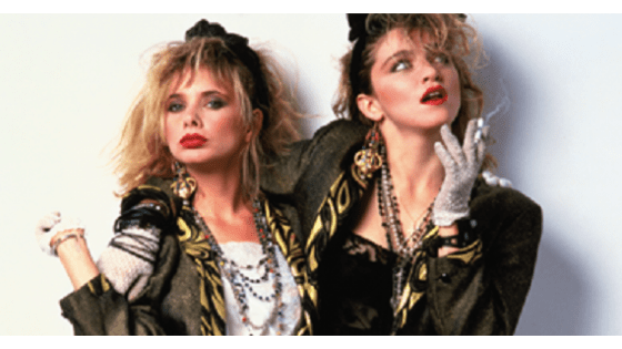 Desperately Seeking Susan style - Rosanna Arquette and Madonna in 80s outfits