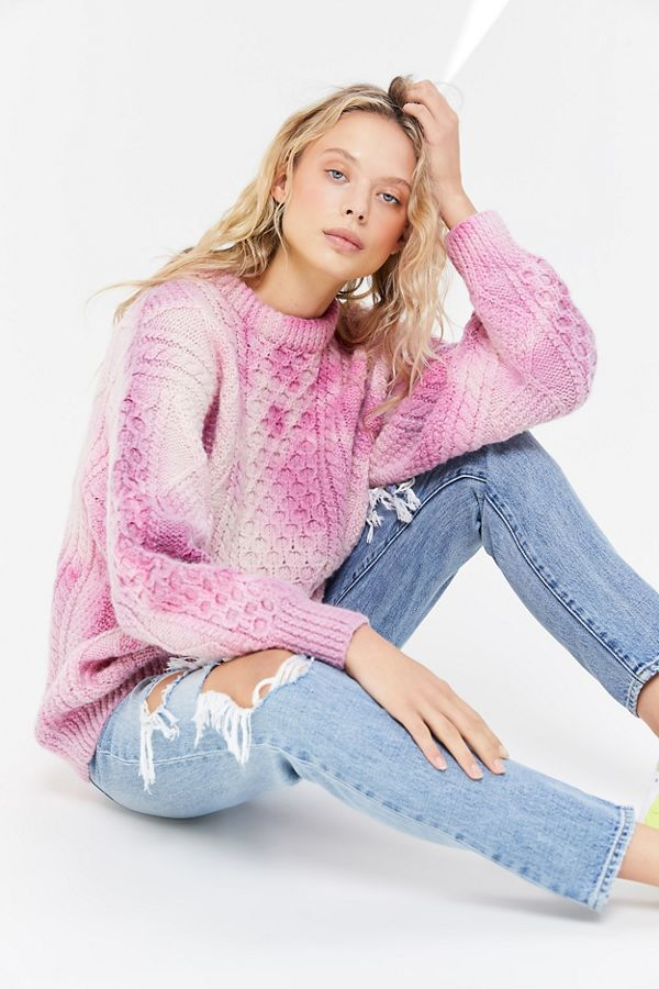 Six Fun Printed Sweaters Guaranteed to Liven Up Your Cold-Weather Wardrobe: Urban Renewal Recycled Pink Tie-Dye Fisherman Sweater