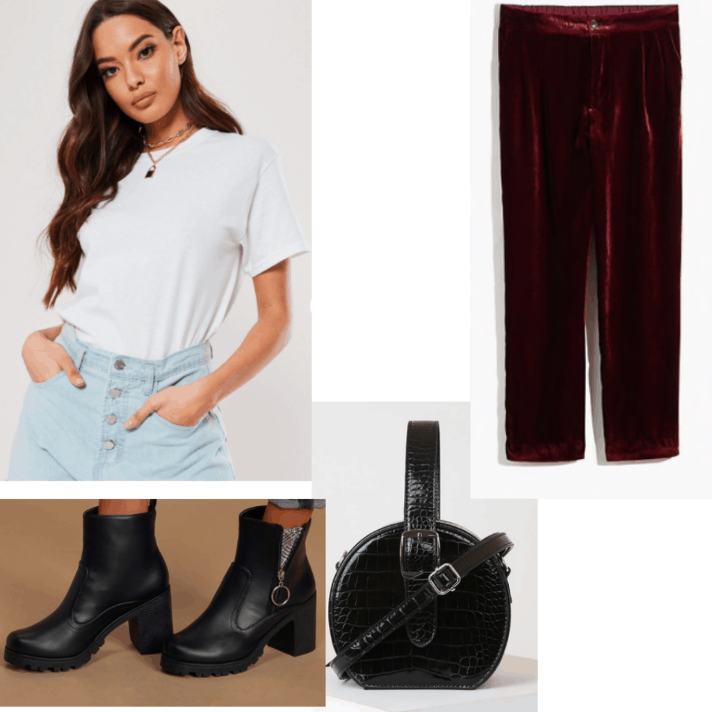 Outfit set with white tshirt, velvet pants, black boots and bag.