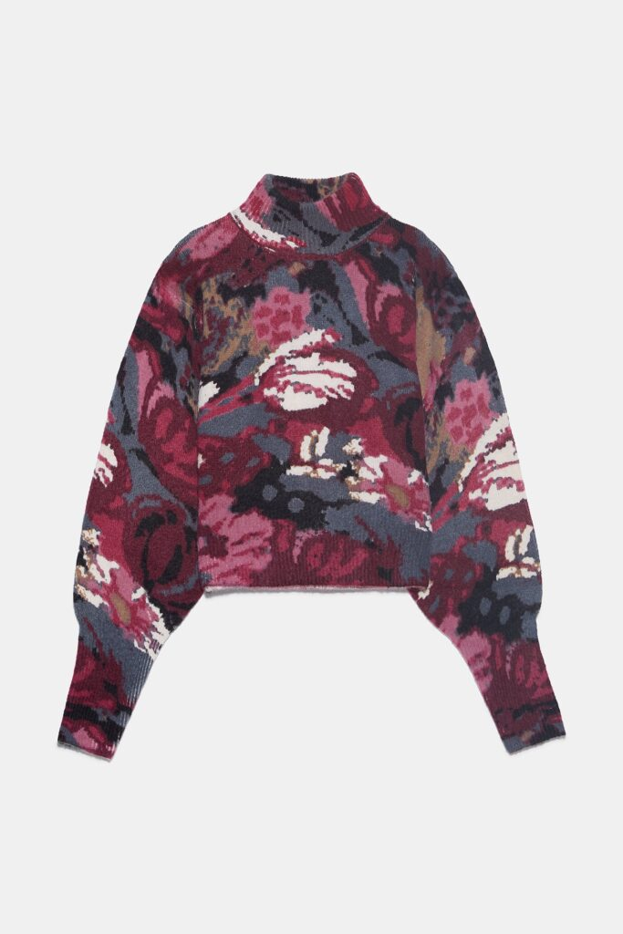 Six Fun Printed Sweaters Guaranteed to Liven Up Your Cold-Weather Wardrobe: Floral-Print Balloon-Sleeve Sweater