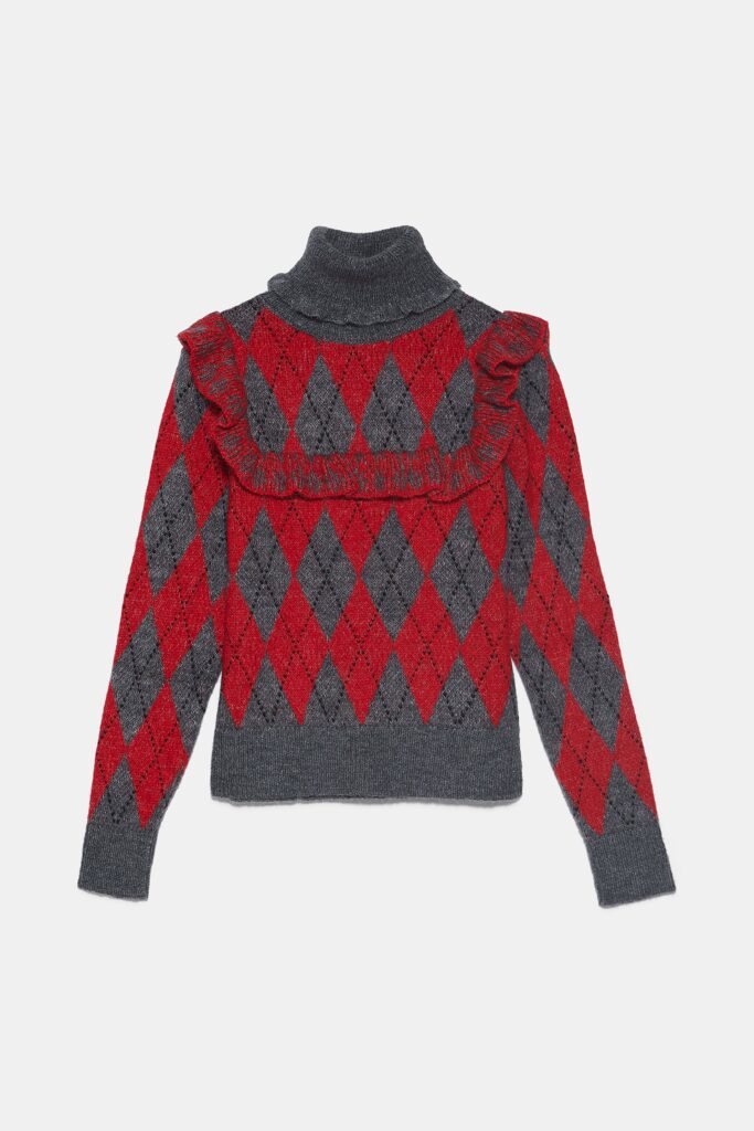 Six Fun Printed Sweaters Guaranteed to Liven Up Your Cold-Weather Wardrobe: Red-and-Gray Ruffled Argyle Sweater