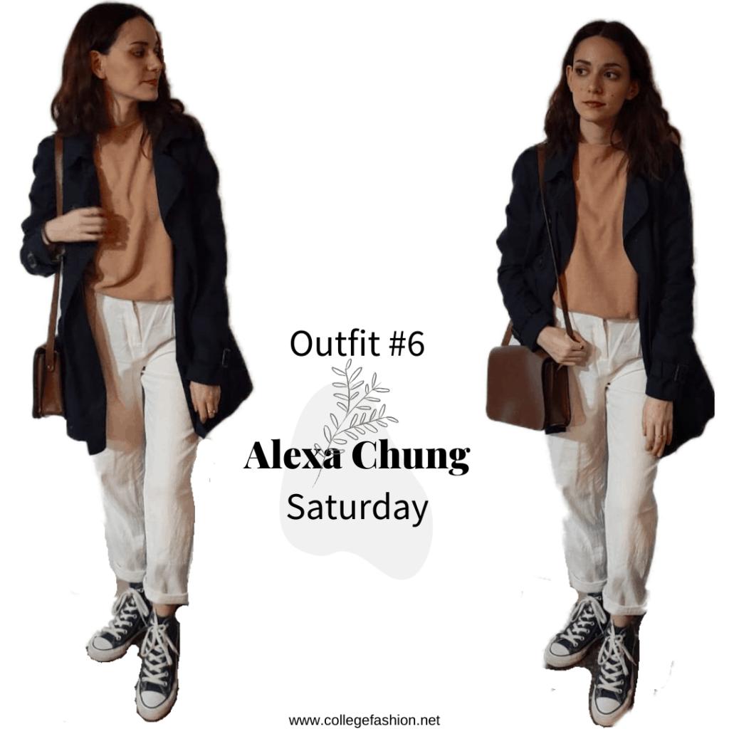 Saturday Outfit Alexa Chung: sweater, pants, coat, converse, bag
