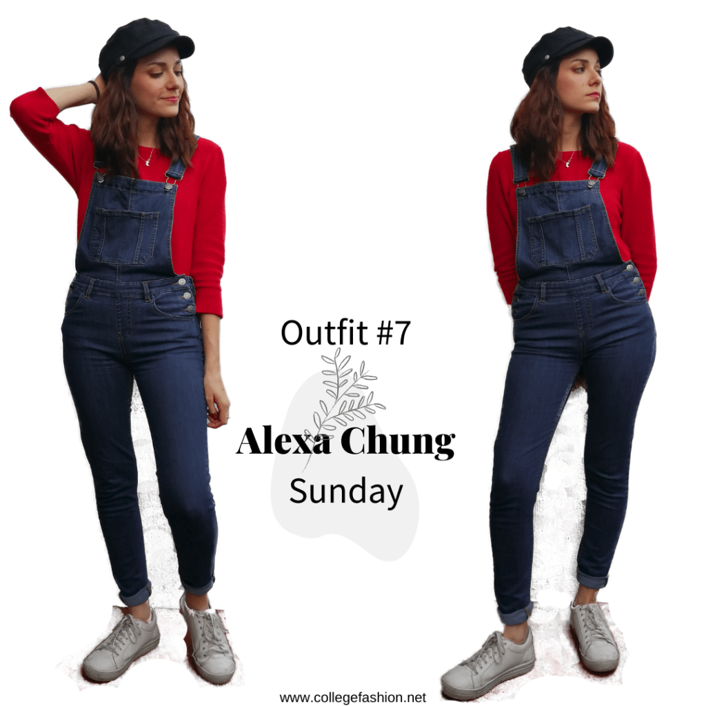 Sunday Outfit Alexa Chung: overalls, sweater, sneakers, hat