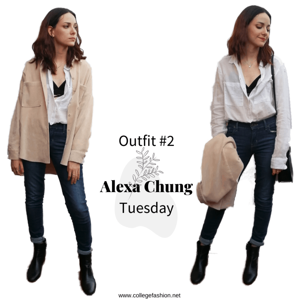 Tuesday Outfit Alexa Chung style: jeans, shirt, bralette, corduroy shirt, booties