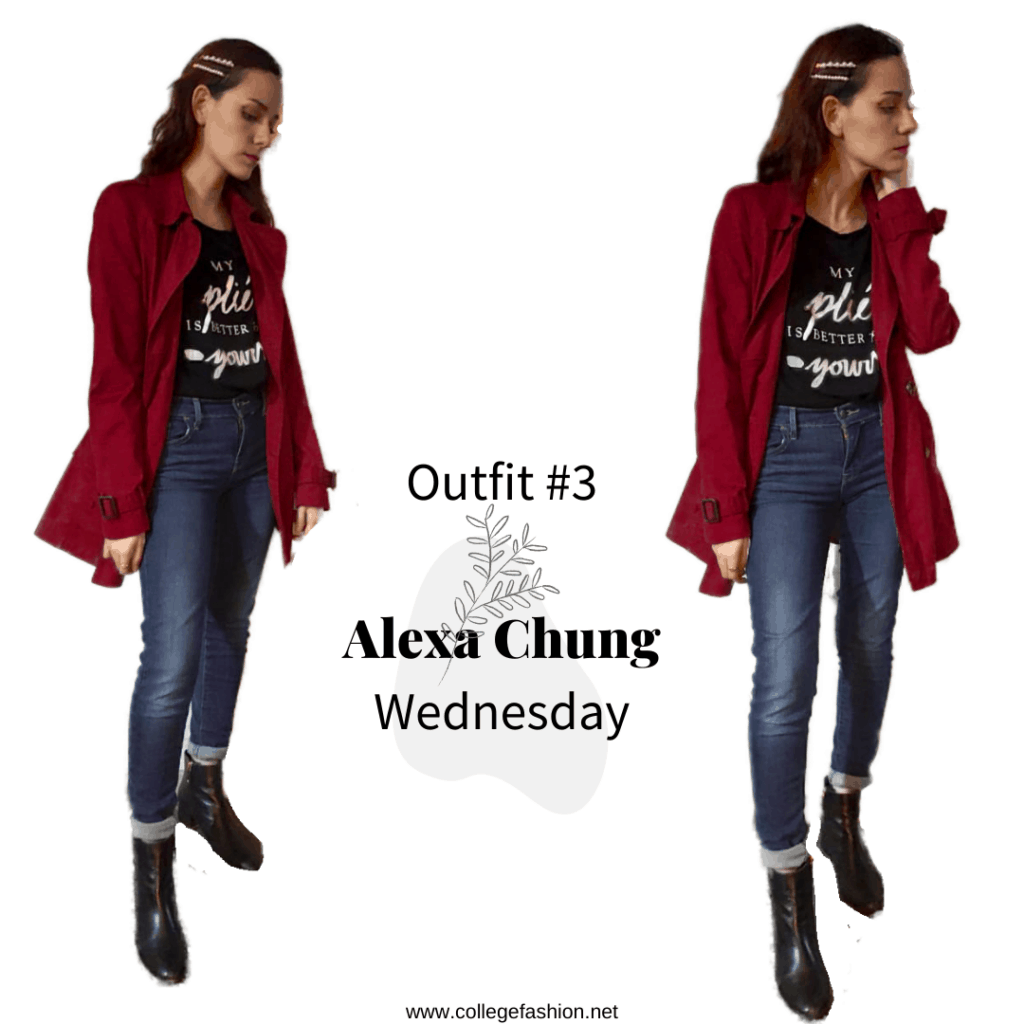 Wednesday Outfit Alexa Chung: coat, t-shirt, jeans, booties